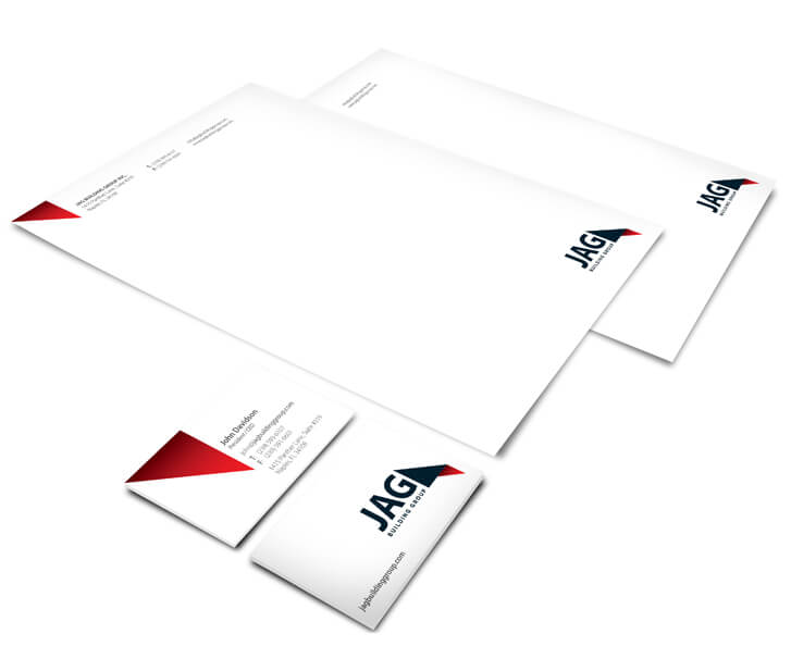 Stationery design with JAG branding elements